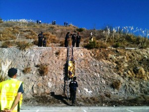 Cliff rescue was part of the terrorist hijacking of a school bus in one of the scenarios Photo Angelique Presidente