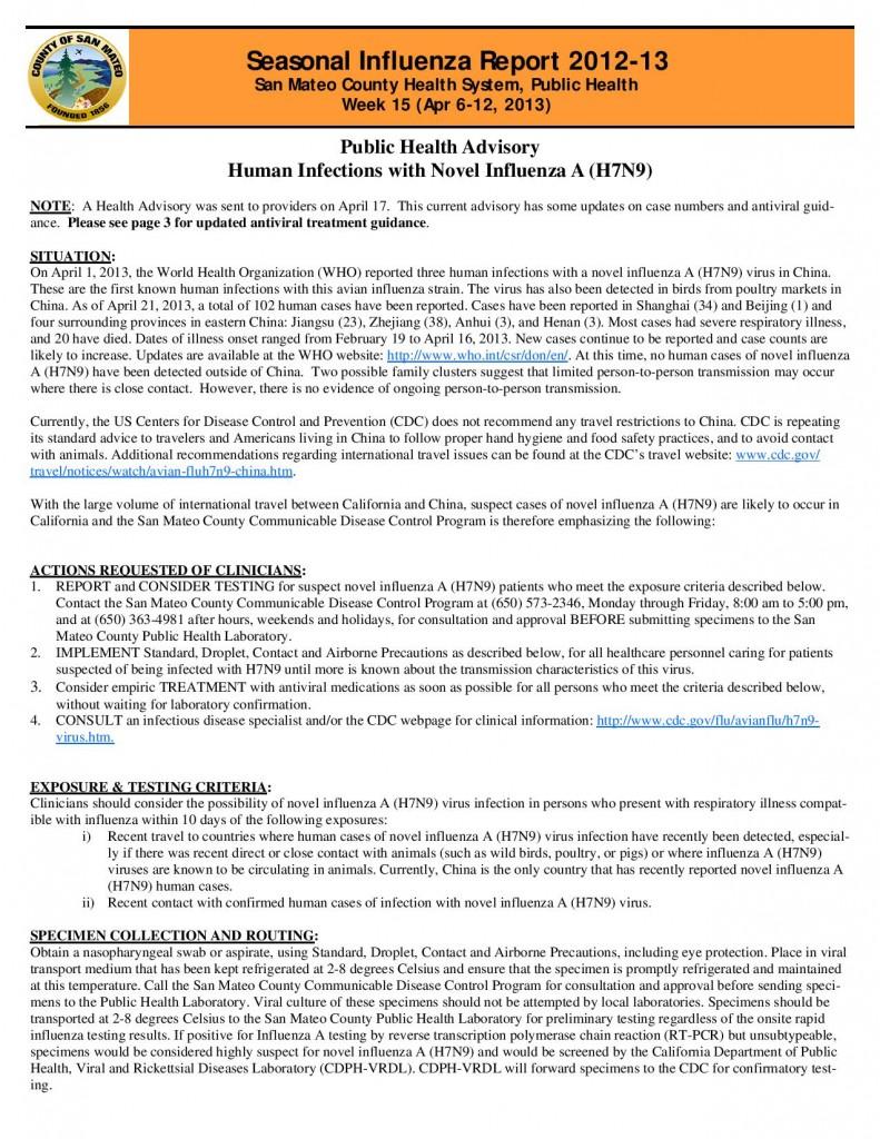 San Mateo County Influenza Report