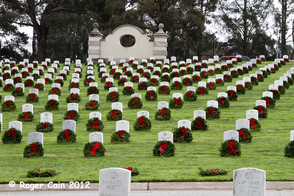 Wreathes Across America -Their mission, Remember, Honor, Teach, is carried out in part by coordinating wreath laying ceremonies in veterans' cemeteries and other locations in all 50 states, and beyond. There are around 900 wreathes at this cemetery