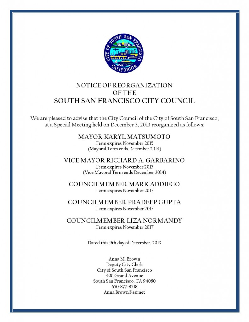 city council- reorganization dec 3, 2013