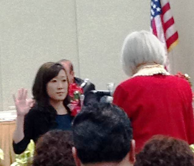 Liza Normandy, former School Board Trustee, being sworn into the office of City Council by now Mayor Karyl Matsumoto. Karyl was voted in to complete the 2 year term vacated by Kevin Mullin Photo: ESC