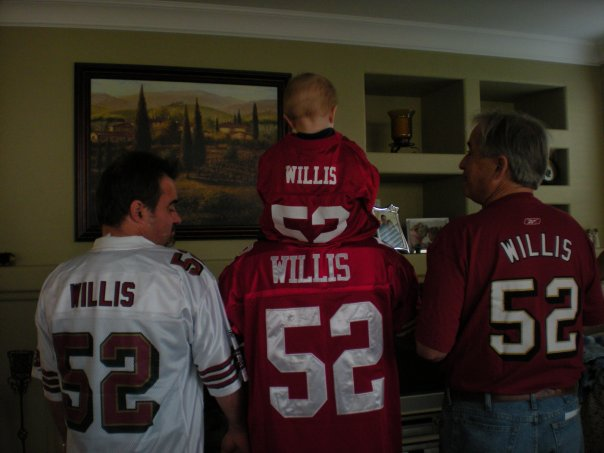 GOT YOUR BACK!  49ers 3 generations  My dad, brother, nephew and myself Photo: Chris Willis