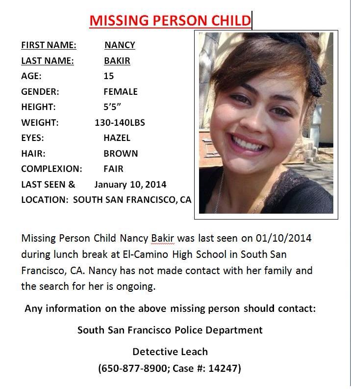 missing person nancy Bakir