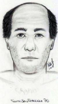 Suspect is said to be  40 years old, 5′-9″ to 5′-10″ tall, balding with short dark brown hair, and a pot belly.