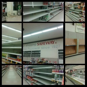 Nearly empty shelves at Safeway this week  Photo: Sandra Peña
