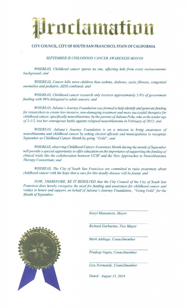 SSF Councilwoman Liza Normandy has requested our City proclaim Sept as National Childhood Cancer month at the upcoming Council Meeting Wednesday