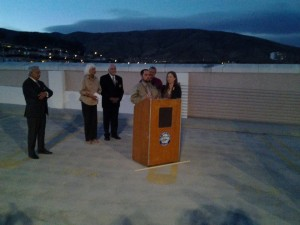 Juliana's parents, Jesus & Patricia at the podium on top of the Miller Ave Parking Garage. City Officials behind them Photo: Rick Ochsenhirt