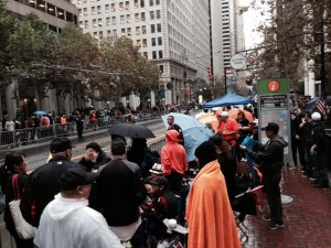 Parade enthusiasts arrive well before the Giants Photo: Carol B