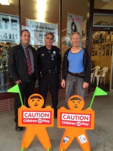 Detective Pinell, Officer Gablin and MP Grossman with the new little orange men