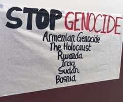 Students recognize the genocide in Armenian as well as the Holocaust, Rwanda, Iraq, Sudan and Bosnia