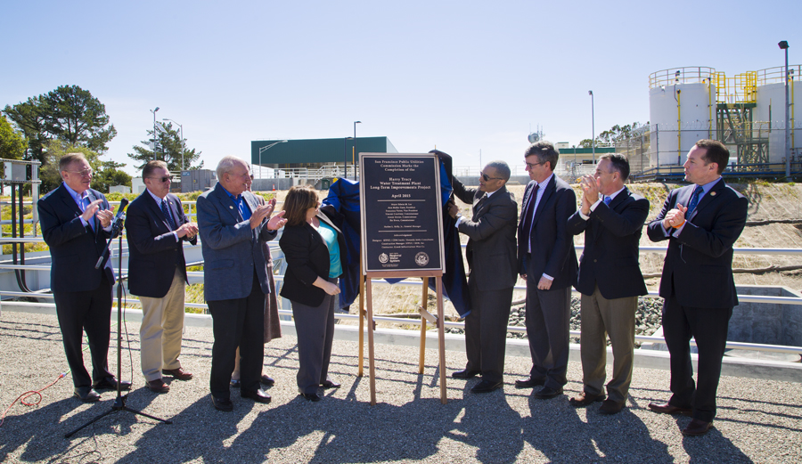 Harry Tracy Water Treatment Plant, Long-Term Improvements, Celebration for the completion of the project, unveiling the plaque Photo SFWPS