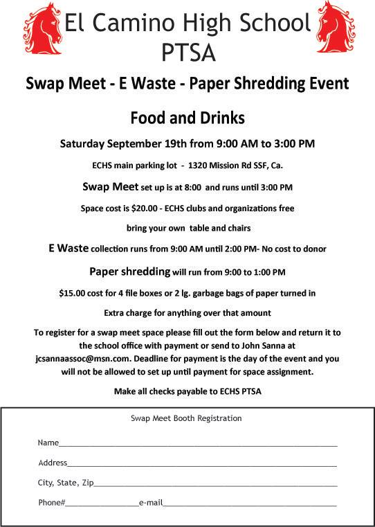 El Camino High School PTSA Swap Meet Fundraiser September