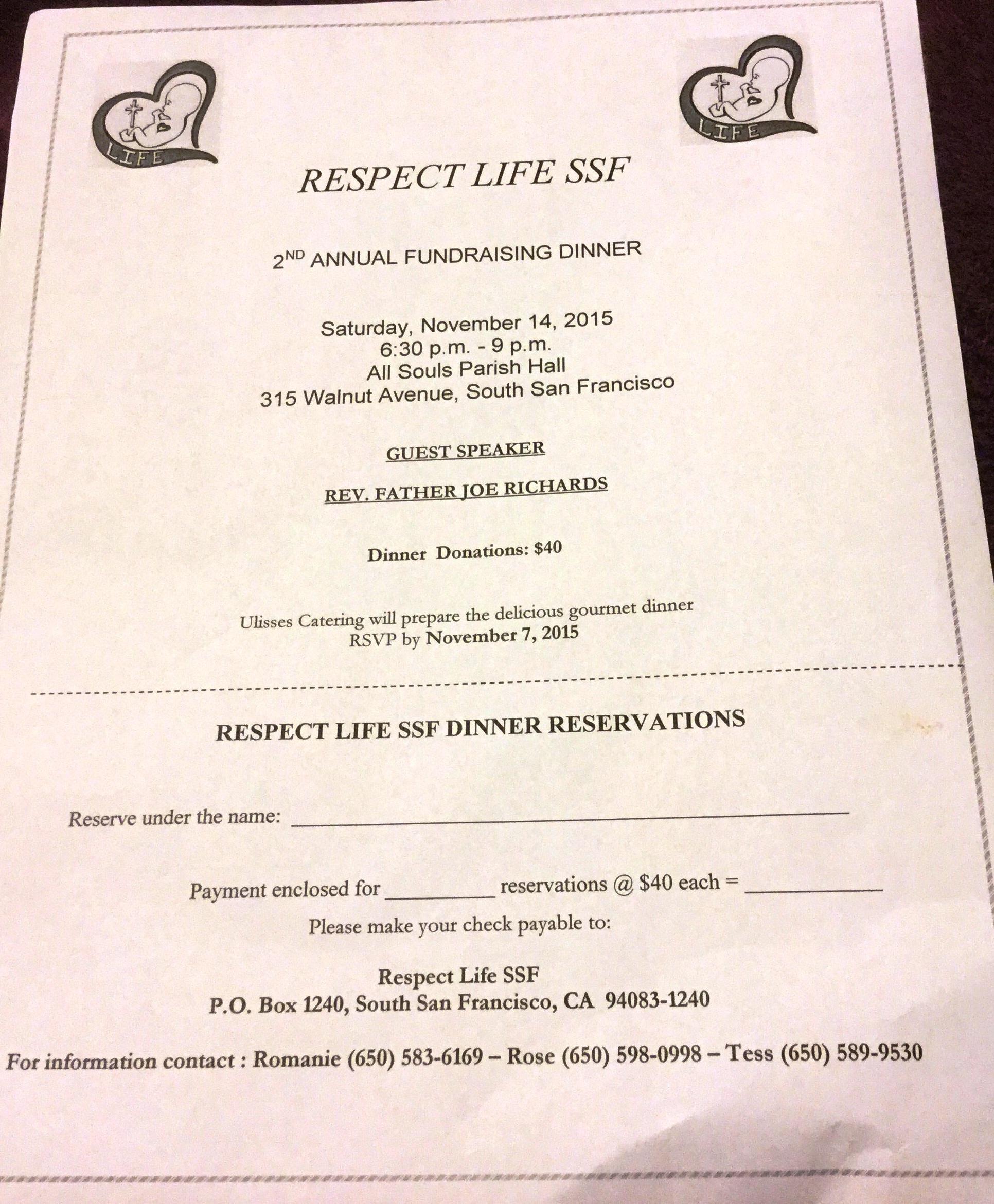 respect life fundraiser