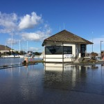 Flooding at Oyster Point Marina during a king tide event on Nov. 25.   Photo: S Brennan