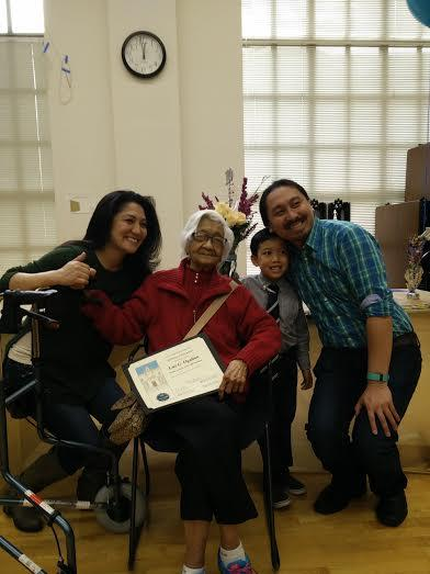 Luz Gamilla Ogalino celebrates her centenary with her family at the Magnolia Senior Center. Photo courtesy of Magnolia Center - See more at: http://www.gmanetwork.com/news/story/561416/news/pinoyabroad/city-celebrates-fil-am-s-100th-birthday#sthash.MnFOaSX1.dpuf