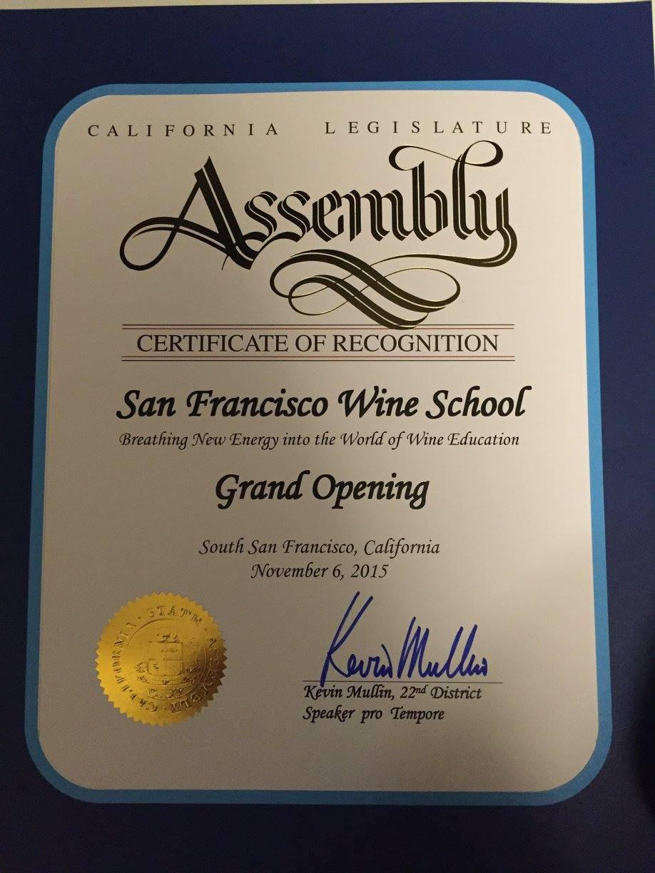 California State Assemblyman/Speaker pro Tempore and South City resident Kevin Mullin gave honor to the San Francisco Wine School upon their opening