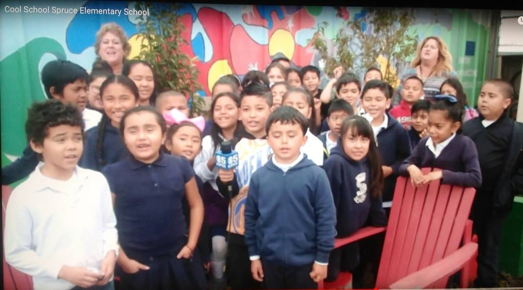 Spruce Elementary 3rd graders enjoy the opportunity to learn in their garden. Photo: KPIX