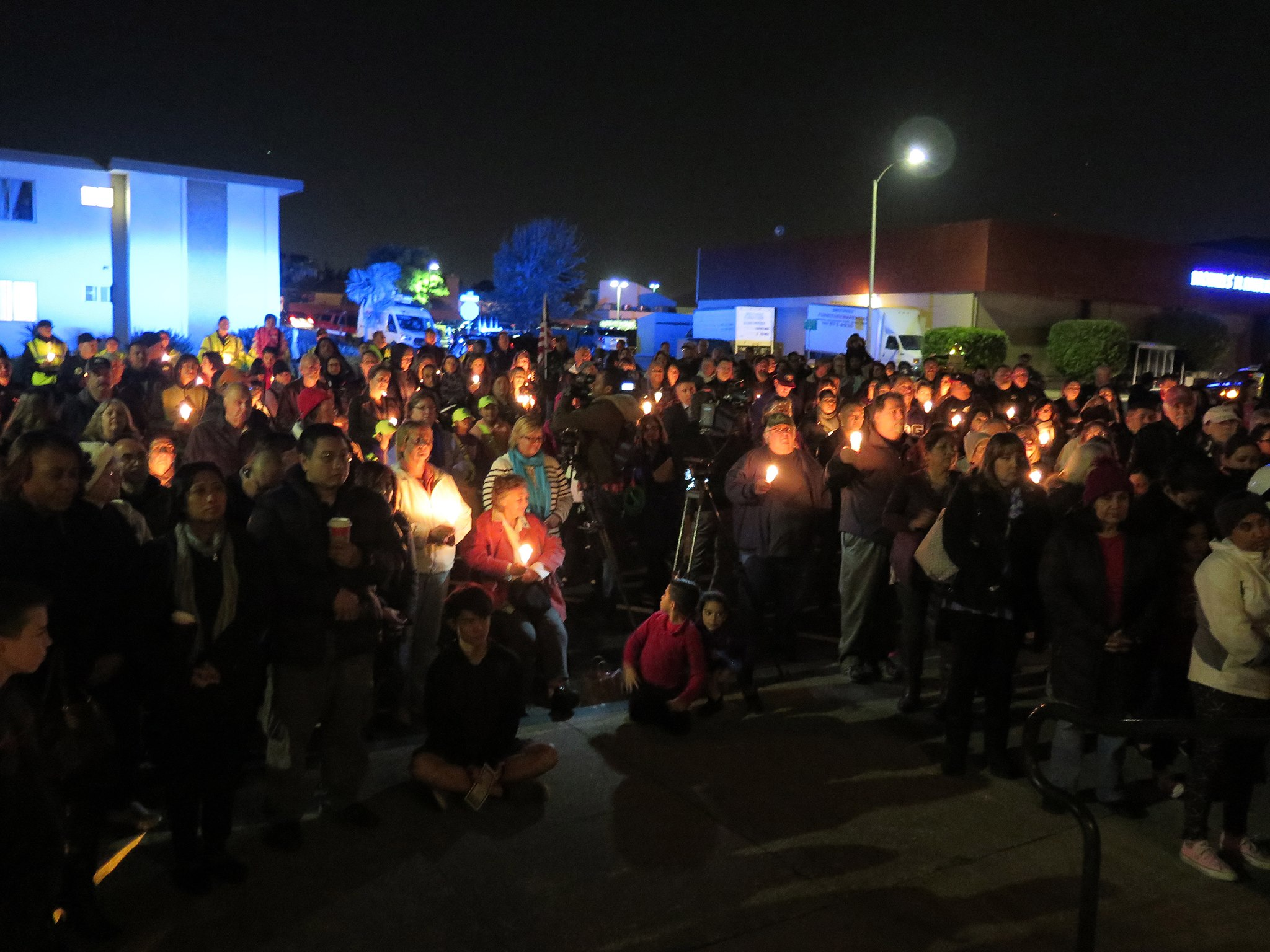 Neighbors lit candles in support of Officer Chon's full and quick healing.  Photo: SSFPD