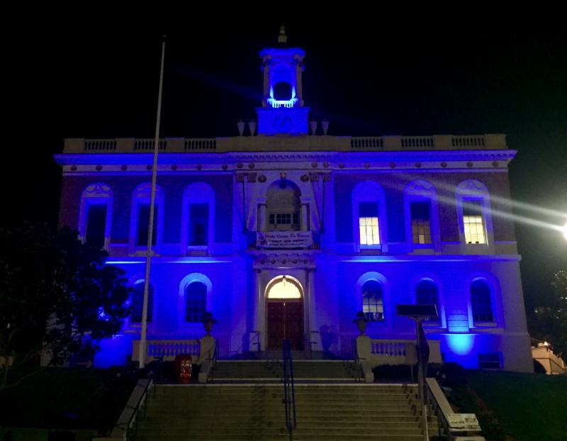 'South San Francisco, The City of Inspiration' - Chaplain Di Angelo  The City will keep our City Hall lit in blue for 7 nights representing the 7 points on a Police badge each point carrying a different meaning:divinity, fortitude, glory, honor, praising god, prudence, and virtue. Photo: City Of South San Francisco