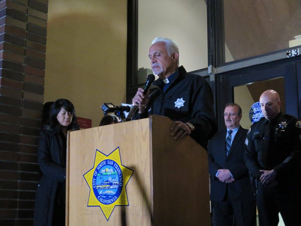 'Tonight we are the City of Inspiration'SSFPD Chaplain Danny DiAngelo told the crowd Photo: SSFPD