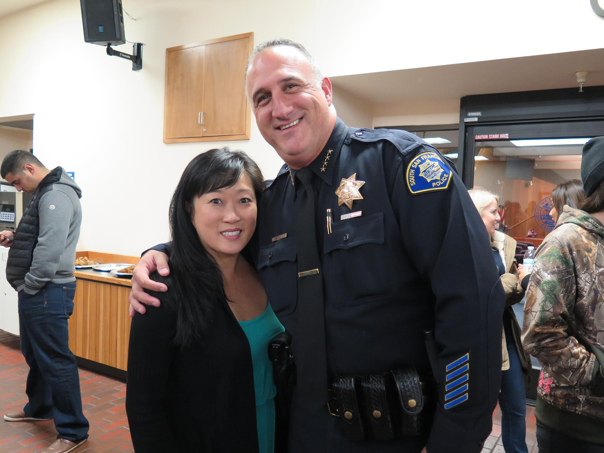 Councilwoman Liza Normandy with SSFPD Chief Jeff Azzopardi