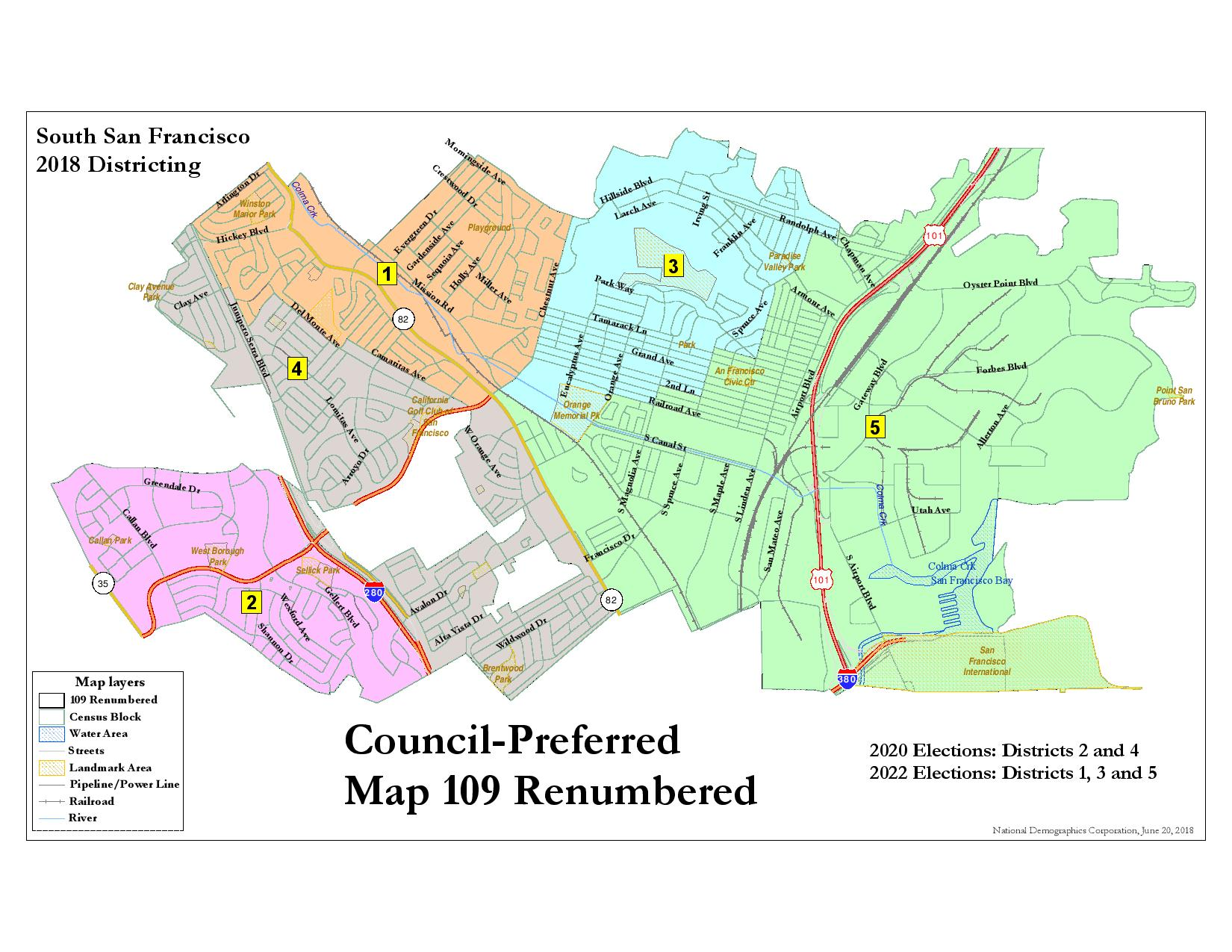Districts Of San Francisco Map.South San Francisco Election District Map Approved By City Council