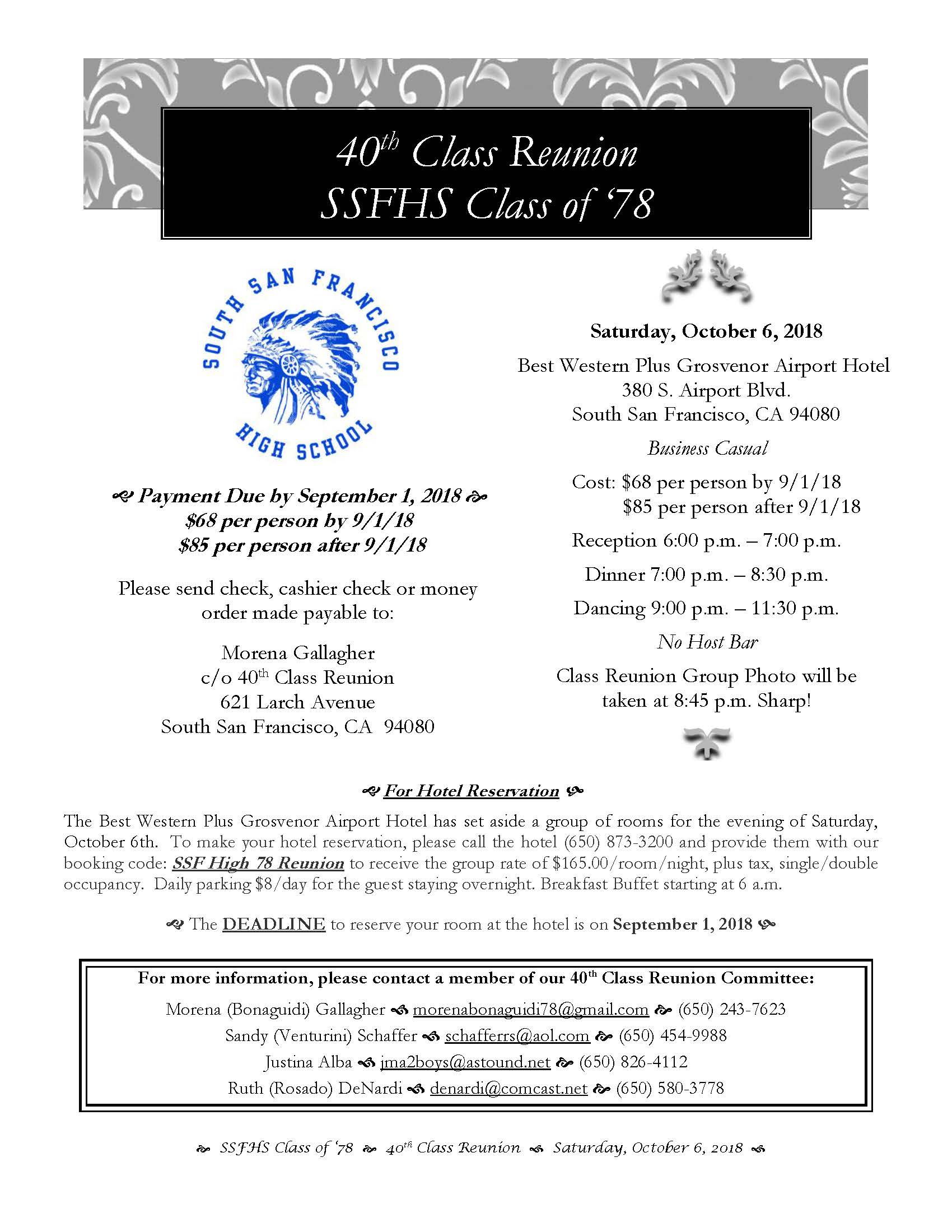 Revised Update Ssfhs 40th Class Reunion Set For October 6th At Best