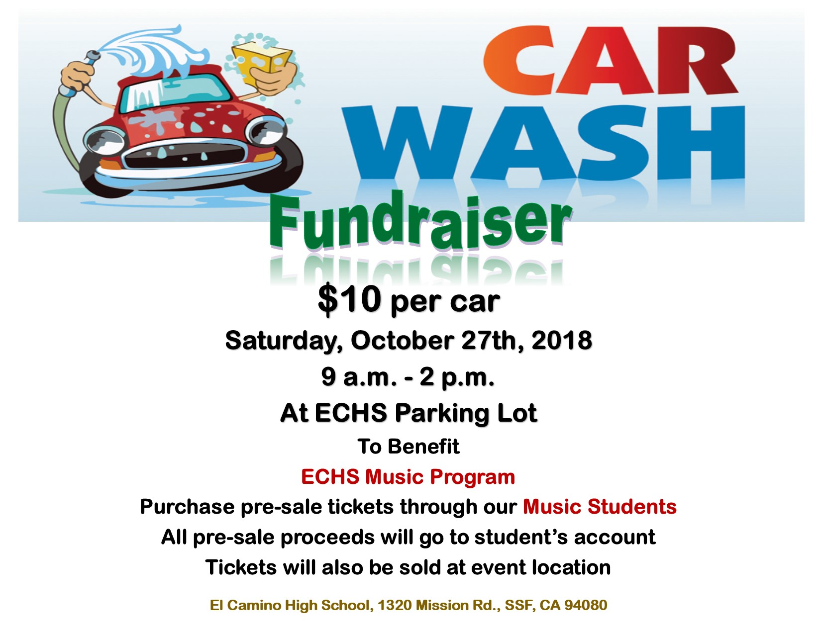 Come Support The Car Wash Oct 27th To Benefit El Camino High School